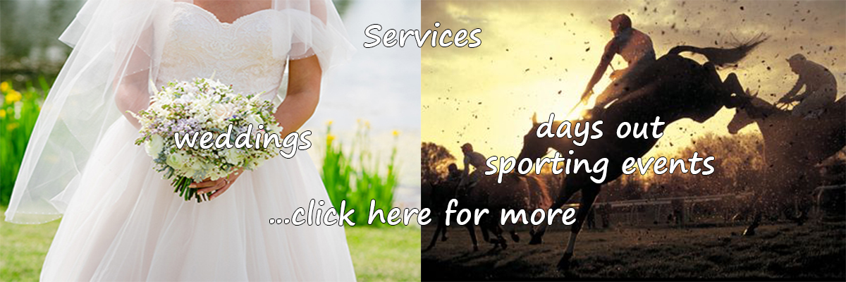 Chauffeuring services: wedding hire - days out sporting events